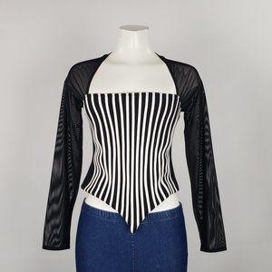 Ribkoff Trends Black Striped Top Size 8